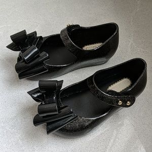 Mini Melissa Girls Black Ultragirl Triple Bow